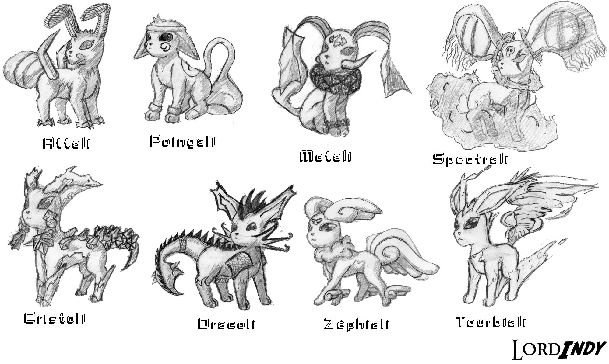 Comment dessiner evoli - Famille evoli pokemon ...