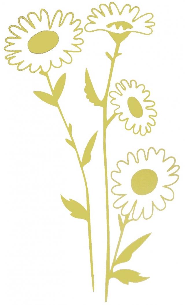 Sticker fleur marguerite jaune d co adh sif vinyle mural for Adhesif mural