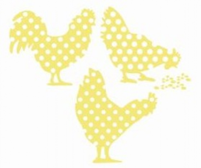 Sticker coming b coq et poules d coration mural jaune prix for Poules decoration